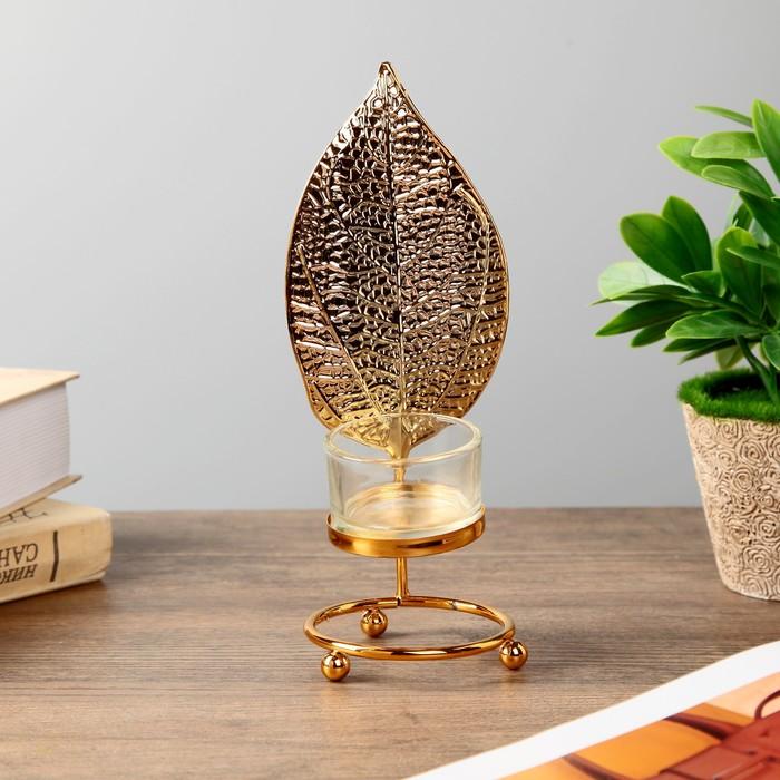 Подсвечник металл, стекло на 1 свечу ''Золотой скелетированный лист'' 19х8х7 см   4430102