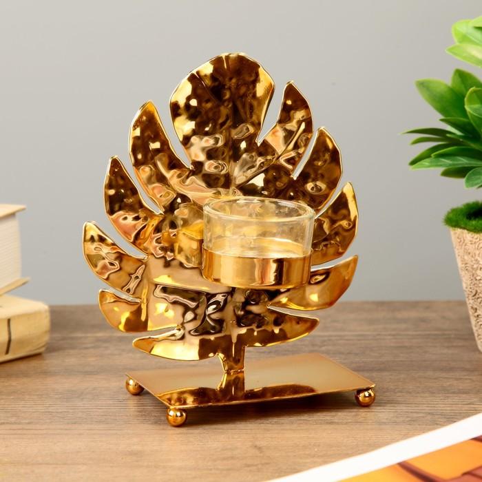Подсвечник металл, стекло на 1 свечу ''Золотой лист монстеры'' 16х14х7 см   4430103