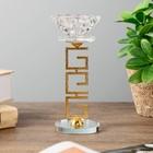"""Подсвечник стекло, металл на 1 свечу """"Греческий орнамент и цветок"""" 15,2х6,4х6,4 см"""