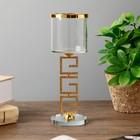 "Подсвечник стекло, металл на 1 свечу ""Греческий орнамент и бокал"" 15,2х6,4х6,4 см"