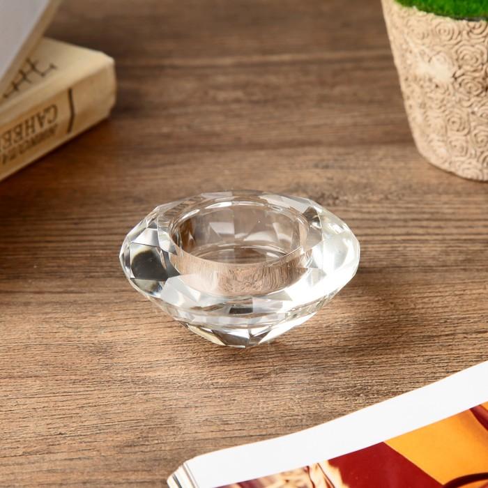 Подсвечник стекло на 1 свечу ''Кристалл круг'' прозрачный 3,7х7,5х7,5 см   4453271