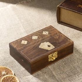 """Набор игр дерево """"Удача"""" (1 колода карт, игральные кости) 10,5х15х4 см"""