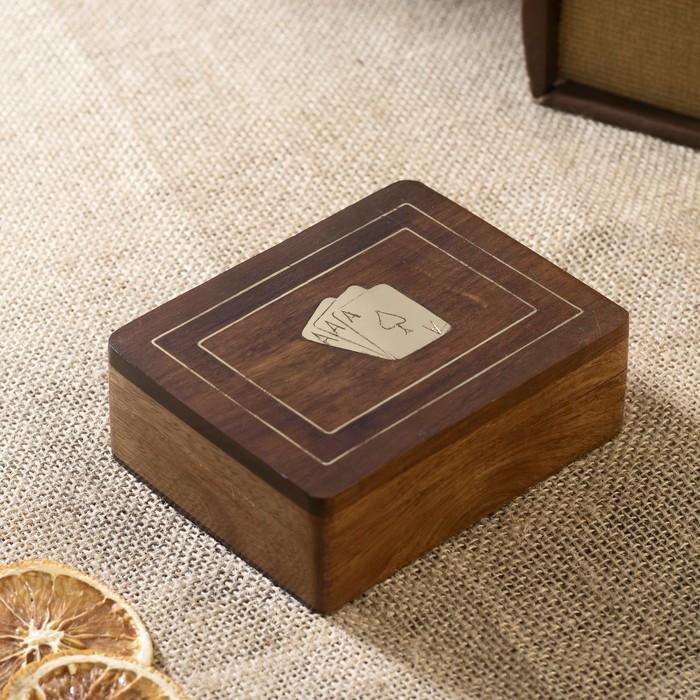"""Настольная игра """"Колода карт в шкатулке"""" дерево 8х11,5х4 см"""