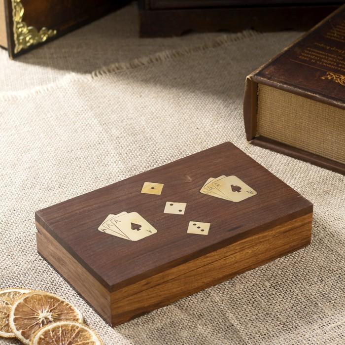 "Сувенирный набор ""Две колоды карт + кости"" (5 кубиков) 12х10,5х4,5 см"