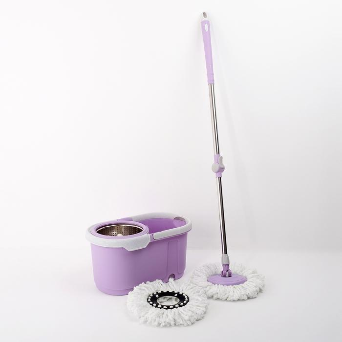 Набор для уборки: ведро с металлической центрифугой 17 л, швабра, доп. насадка, цвет МИКС