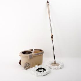 Набор для уборки: швабра, ведро с металлической центрифугой 16 л, доп. насадка, дозатор, колёса, цвет МИКС