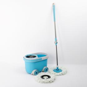 Набор для уборки: ведро на колёсиках с металлической центрифугой 16 л, швабра, запасная насадка из микрофибры, цвет МИКС