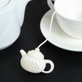 Ситечко для чая Доляна «Чайник», 5,5 см, цвет белый