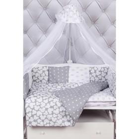 Комплект в кроватку Premium silver, 18 предметов, бязь, цвет серый