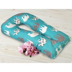 Наволочка на подушку для беременных, размер 35 × 340 см, принт слоники