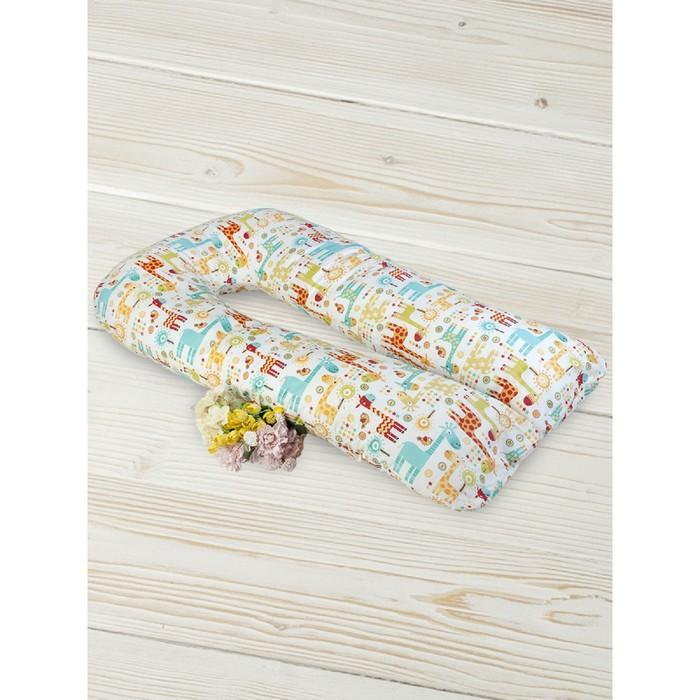 Подушка для беременных  u-образная, размер 35 × 340 см, принт жирафики