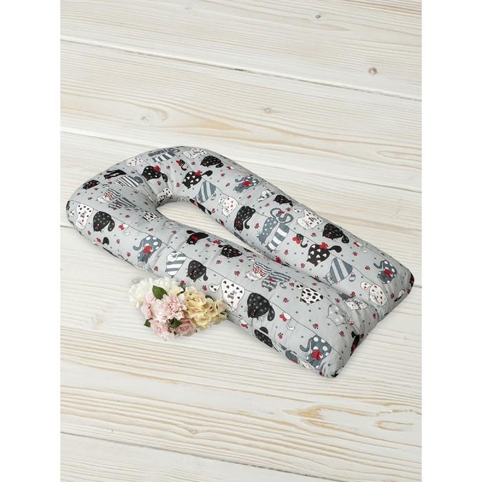 Подушка для беременных  u-образная, размер 35 × 340 см, принт котики, цвет серый
