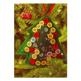 """Set to create hanging Christmas decorations out of fabric """"Tree"""", the color green R-22062C"""