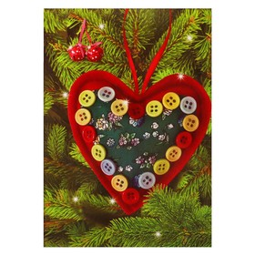 """Set to create hanging Christmas decorations out of fabric """"Heart"""", red R-22063A"""