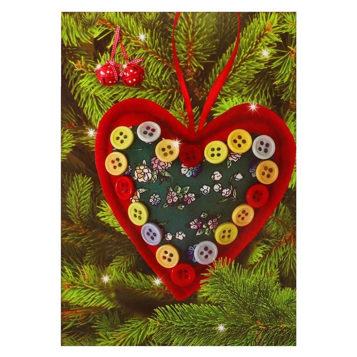 Елочная игрушки из фетра «Сердце», цвет красный