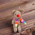 Мягкая игрушка-подвеска «Мышка в полосатом шарфе»