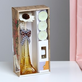 "Gift set ""Eiffel tower""(2 sticks, 3 candle ,decor,essential oils 30 ml) orange NG"