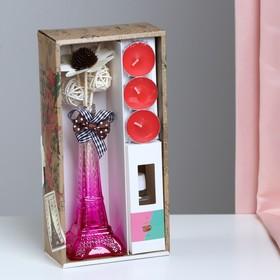 "Gift set ""Eiffel tower""(2 sticks, 3 candles ,decor,fragrance oil 30ml), strawberries NG"