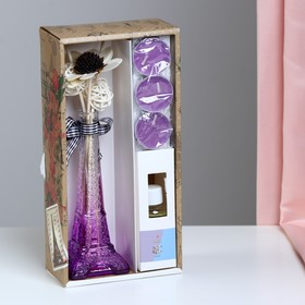 """Gift set """"Eiffel tower""""(2 sticks, 3 candle ,decor,essential oils 30 ml), Orchid NG"""