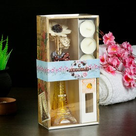 "Gift set ""Eiffel tower""(2 sticks, 3 candle ,decor,essential oils 30 ml) orange 14"
