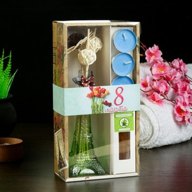 "Gift set ""Eiffel tower""(2 sticks, 3 candle ,decor,essential oils 30 ml), sandal 8M"