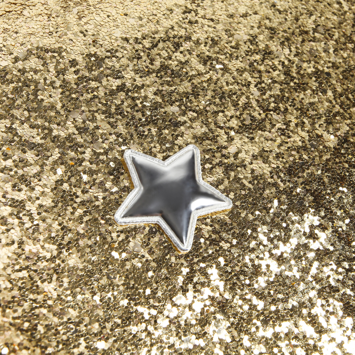 Ткань для пэчворка декоративная кожа с крупными блестками «Искры шампанского»,50х70 см