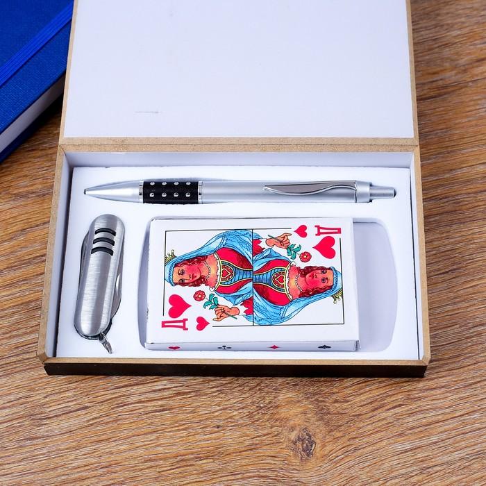 Набор подарочный 3в1 (ручка, карты, нож 3в1) - фото 8873444