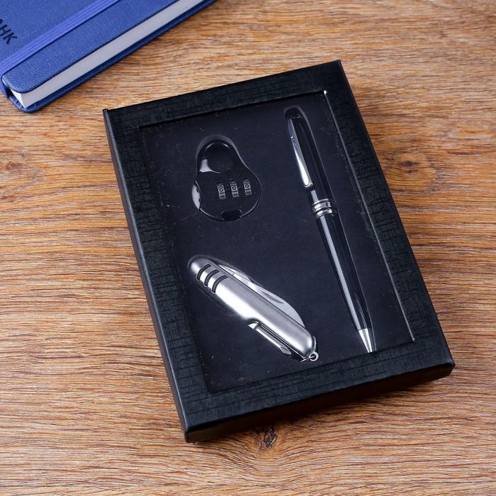 Набор подарочный 3в1 (ручка, кодовый замок, нож 5в1) - фото 8873449
