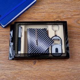 Набор подарочный 4в1 (ручка, открывалка, галстук с заколкой)