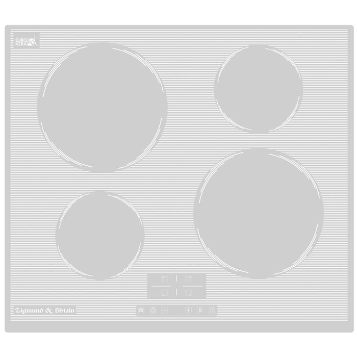 Варочная поверхность Zigmund & Shtain CI 32.6 W, индукционная, 4 конфорки, сенсор, белая