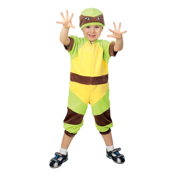 """Карнавальный костюм """"Ниндзя зеленый"""", комбинезон, повязка, панцирь, рост 74-80"""