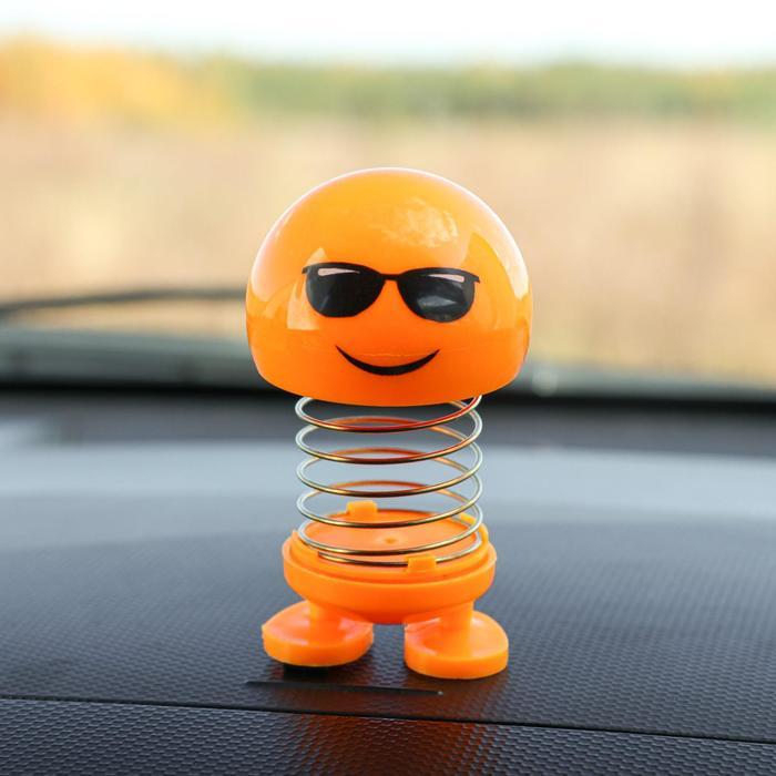 Смайл на пружинке, на панель в авто, желтый, микс - фото 798312073