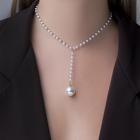 """Колье с жемчугом """"Олимпия"""", цвет белый в серебре, 32 см"""