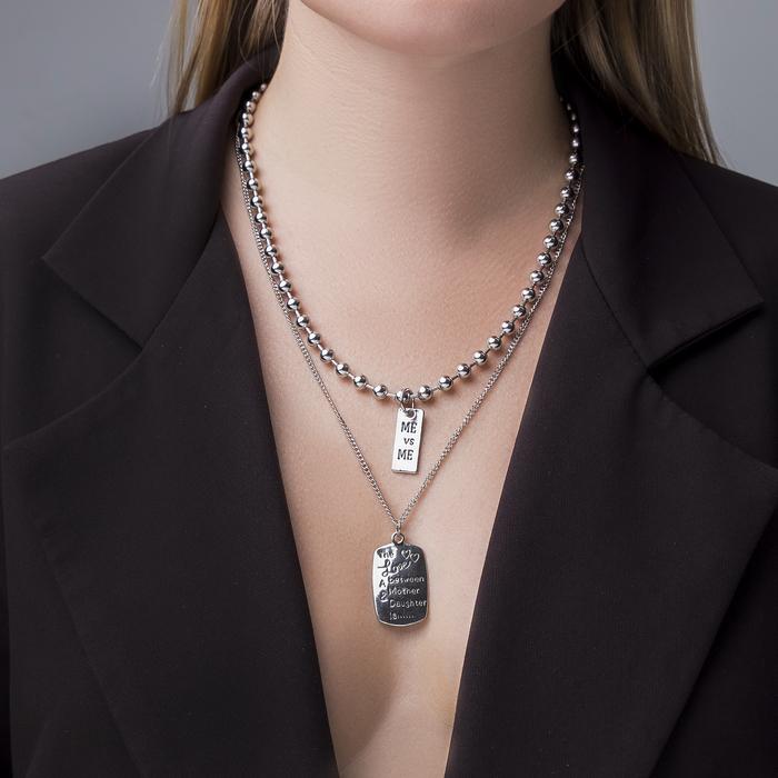 """Кулон двойной """"Цепь"""" сталь, прямоугольники, цвет серебро, 70 см - фото 2125937"""