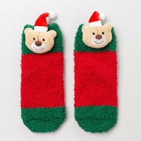 Носки детские махра-травка, цвет красный, размер 12-14