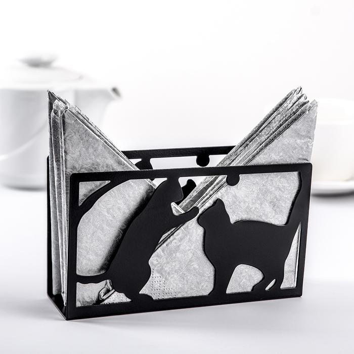Салфетница «Кошки», 14×4×8 см, цвет чёрный - фото 1863829