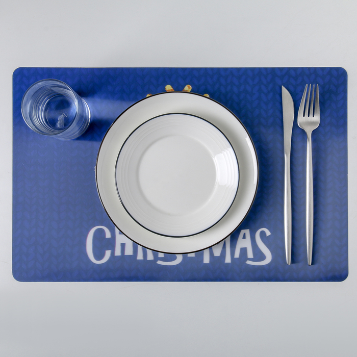 "Салфетка кухонная 45×40 см Real 3D ""Рождество"", цвет синий"