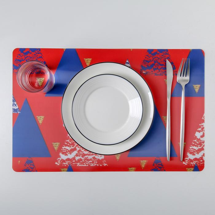 "Салфетка кухонная 45×40 см Real 3D ""Рождество"", геометрия"