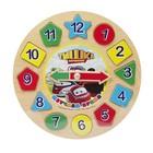 Пазл деревянный ТИШКА ПАРОВОЗИК «Часы с геометрией и цифрами»