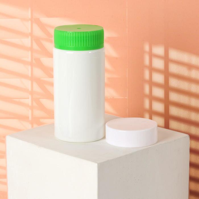 Баночка для хранения, 250 мл, двойная крышка, цвет белый/зелёный