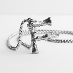 "Pendant steel ""Letter F"", the color silver, 70 cm"