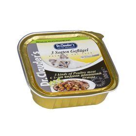 Влажный корм Dr.Clauder's для кошек, кусочки в соусе, 3 вида домашней птицы, ламистер, 100 г