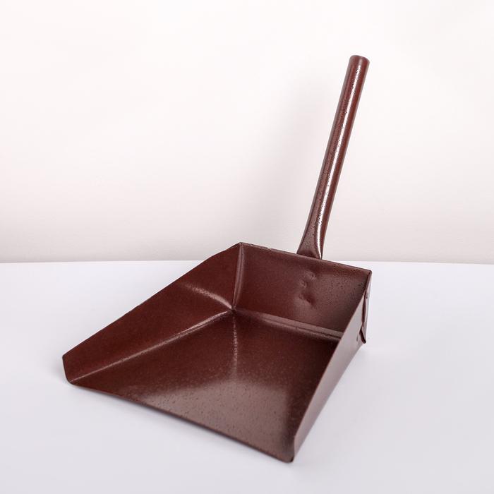 Совок хозяйственный металлический, с короткой металлической ручкой, 17×19×25 см