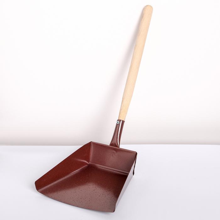 Совок хозяйственный металлический с деревянной ручкой, 17×19×36 см УЦЕНКА