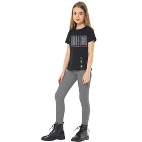Брюки для девочек, рост 158 см, цвет чёрно-белый