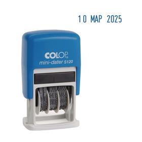 Датер-мини автомат пластик, высота шрифта 3,8 мм, месяц буквами, русский, блистер S 120