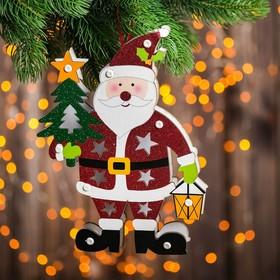 """Декор с подсветкой """"Дед Мороз с ёлкой"""" 2,2×18×25 см"""