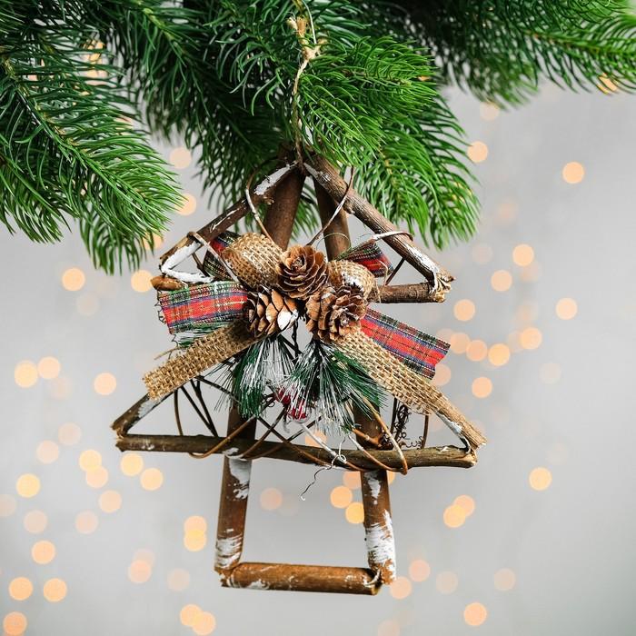 """Новогодняя подвеска из природных материалов """"Ёлка"""" 4×15×20 см - фото 417470"""