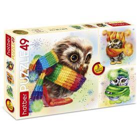 Набор пазлов «Совушки», 3 картинки в 1 коробке, 49 элементов