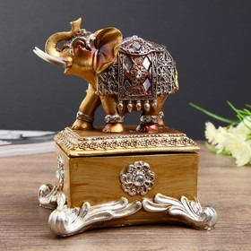 "Сувенир полистоун шкатулка ""Слон в попоне с зеркалами"" 14,3х11,5х10 см"